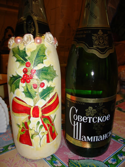 бутылка шампанского - декупаж